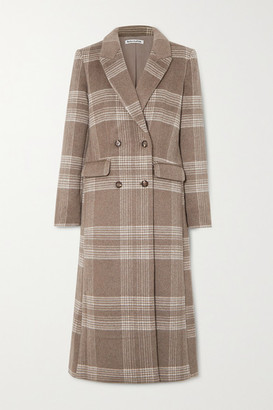 Reformation York Double-breasted Checked Woven Coat - Beige