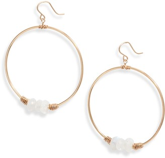 Nashelle Heaven Moonstone Drop Hoop Earrings