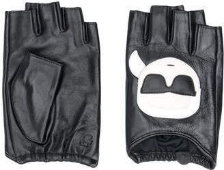 Karl Lagerfeld Paris Logo Print Fingerless Gloves
