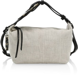 Ganni Leather-Trimmed Canvas Hobo Bag