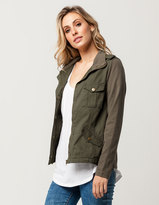 Full Tilt Twill Knit Sleeve Womens Jacket