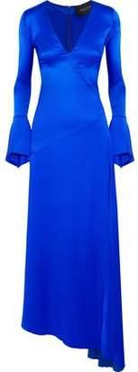 Paper London Automne Asymmetric Silk-blend Satin Maxi Dress