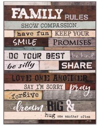 """Patton Wall Decor 18""""x24"""" Family Rules Wood Wall Art Brown"""