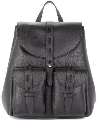 Furla Net S Model Backpack In Black Grained Leather