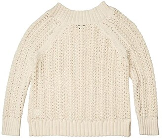 J.Crew Pointelle Wide Neck Beach Sweater (Natural) Women's Clothing