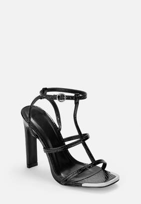 Missguided Black Patent Croc Caged Metal Toe Cap Heeled Sandals