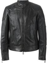 Belstaff zip leather jacket - men - Cotton/Leather/Viscose - 48