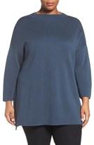 Eileen Fisher Funnel Neck Silk & Organic Cotton Knit Top (Plus Size)