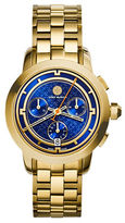 Tory Burch Chronograph Tory Goldtone Bracelet Watch with Blue Dial