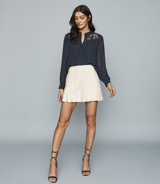 Reiss EMILY LACE DETAILED SEMI SHEER BLOUSE Navy