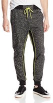 Southpole Men's Jogger Pants in Thin French Terry Fabric with Color Block and Neon Accents