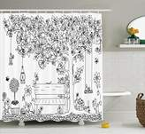 Ambesonne Farm House Decor Collection, Floral Tree with Lanterns Butterflies and Swing in Garden Dream Space Illustration, Polyester Fabric Bathroom Shower Curtain, 75 Inches Long, Black White