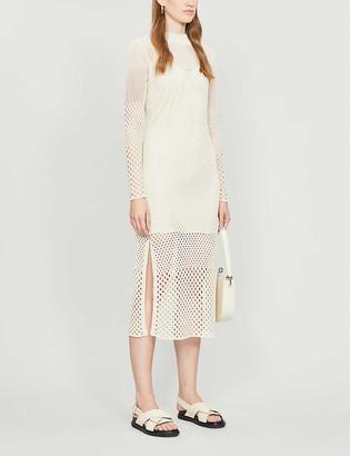 Reiss Emmy mesh open knit midi dress