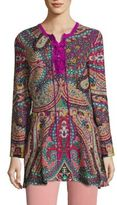 Etro Paisley-Print Silk Lace-Up Blouse