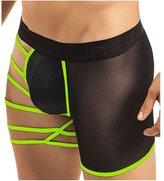 MENGDA Men's Hollowed Straps One Side Mesh Boxer Briefs Underwear