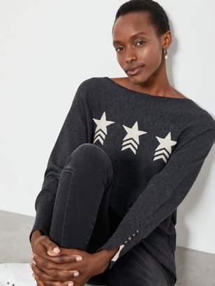 Mint Velvet Star Front Motif Batwing Jumper - Charcoal