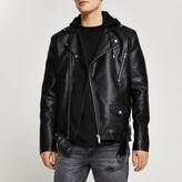 Mens Black hooded faux leather biker jacket