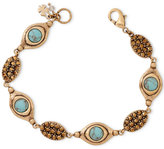 Lucky Brand Gold-Tone Turquoise-Look Bead and Crystal Bracelet