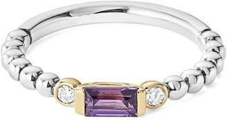 Lagos Gemstone Baguette and Diamond Beaded Band Ring