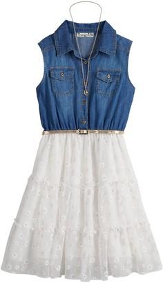 Knitworks Girls 7-16 & Plus Size Knit Works Chambray & Lace Dress