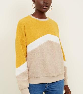 New Look Chevron Stripe Teddy Sweatshirt