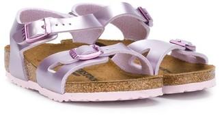 Birkenstock Kids Metallic Buckled Flat Sandals