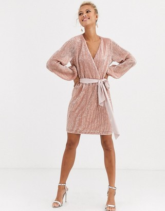 Forever New satin bow tie glitter mini dress in blush