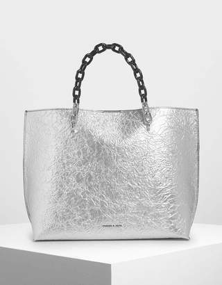 Charles & Keith Double Chain Handle Tote Bag