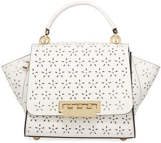 Zac Posen Eartha Floral Perforated Leather Top-Handle Bag