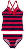 Classic Girls Plus Size Grommet Tankini Swimsuit Set-Vivid Cobalt Stripe
