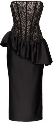 Rasario corseted lace midi dress