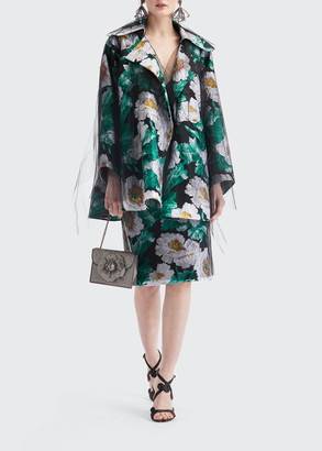 Oscar de la Renta Floral Print Tulle Coat