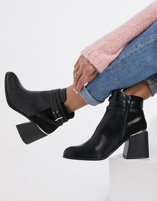 Miss Selfridge heeled chelsea boots with buckle detail in black