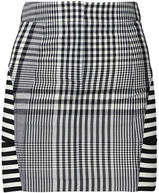 Burberry Abstract Gingham Wool Blend Mini Skirt