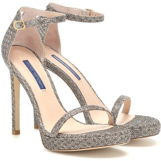 Stuart Weitzman Nudist Disco glitter sandals
