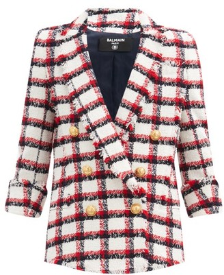 Balmain Double-breasted Check Wool-blend Tweed Blazer - Red Multi