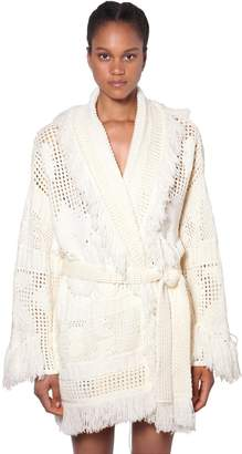 Alanui FRINGED WOOL KNIT CARDIGAN