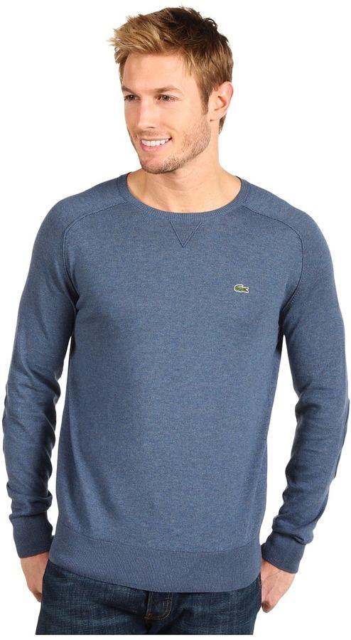 Lacoste Cotton Cashmere Crew Neck Sweater w/ Sweatshirt Details and Suede Trim (Light Dolphin) - Apparel