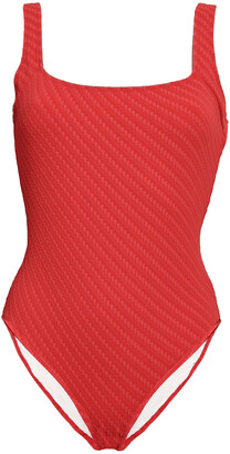 Solid & Striped Jacquard-knit Swimsuit