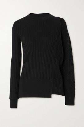 Sacai Cutout Paneled Ribbed And Cable-knit Wool Sweater - Black