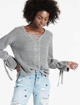 Lucky Brand Lace Up Tie Sleeve Sweater