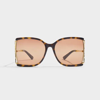 Gucci Oversized Sunglasses In Brown Injection With Brown Lenses