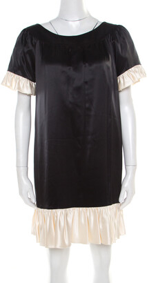 Paul and Joe Black Satin Contrast Ruffled Trim Detail Dress S