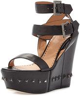 Alexa Wagner Nelly Crisscross Ankle-Wrap Flex Wedge Sandal, Black