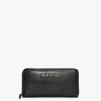 Valentino By Mario Valentino Kensington Black Reptile Zip Around Wallet
