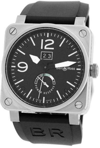 """Bell & Ross BR03-90"""" Big Date Power Reserve Stainless Steel Mens Strap Watch"""
