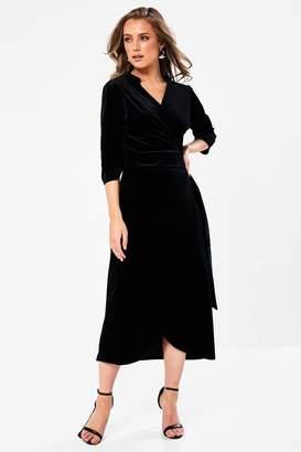 Iclothing iClothing Anya Velvet Wrap Dress in Black