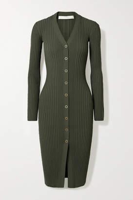 Dion Lee Pinnacle Ribbed-knit Dress - Dark green