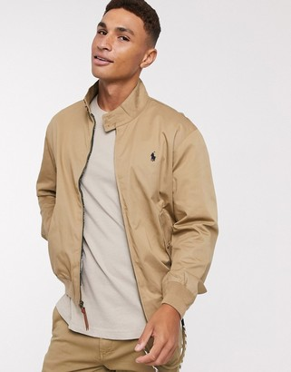 Polo Ralph Lauren Baracuda player logo cotton harrington jacket in tan
