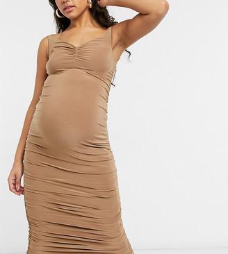 Club L Maternity Club L London Maternity off shoulder ruched detail midi dress in camel